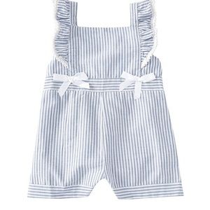 Rare Editions: Ruffle/Bow Striped Romper